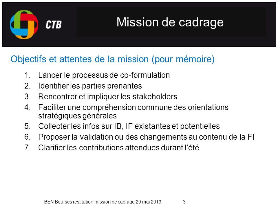 BEN Bourses restitution mission de cadrage 29 mai 20133 Mission de cadrage Objectifs et attentes de la mission (pour mémoire) 1.Lancer le processus de co-formulation 2.Identifier les parties prenantes 3.Rencontrer et impliquer les stakeholders 4.Faciliter une compréhension commune des orientations stratégiques générales 5.Collecter les infos sur IB, IF existantes et potentielles 6.Proposer la validation ou des changements au contenu de la FI 7.Clarifier les contributions attendues durant lété