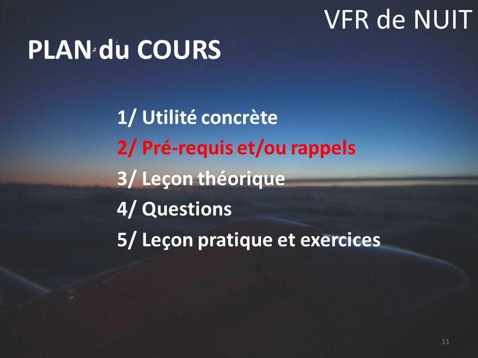 VFR de NUIT 1/ Utilité concrète 2/ Pré-requis et/ou rappels 3/ Leçon théorique 4/ Questions 5/ Leçon pratique et exercices PLAN du COURS 11