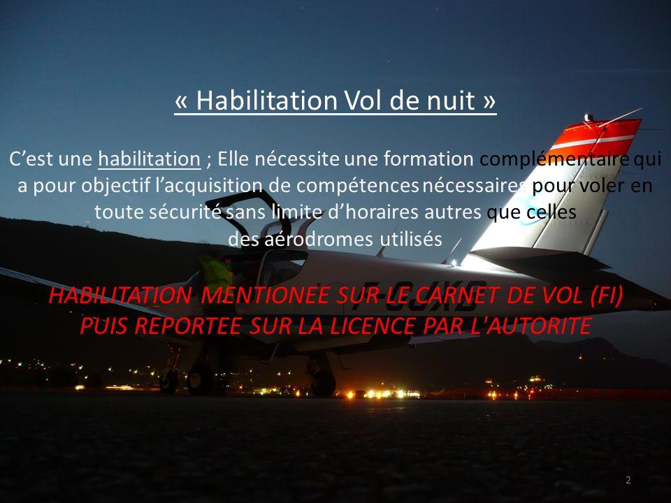 « Habilitation Vol de nuit » CONDITIONS POUR UN TITULAIRE DU PPL (A) : AU MOINS 5 H DE VOL EFFECTUEE DE NUIT DONT 3 H DE FORMATION EN DOUBLE DONT AU MOINS 1 H DE NAVIGATION EN CAMPAGNE 5 DECOLLAGES / ATTERRISSAGES COMPLETS EN SOLO EMPORT DE PASSAGERS : EXPERIENCE RECENTE : 3 DEC.