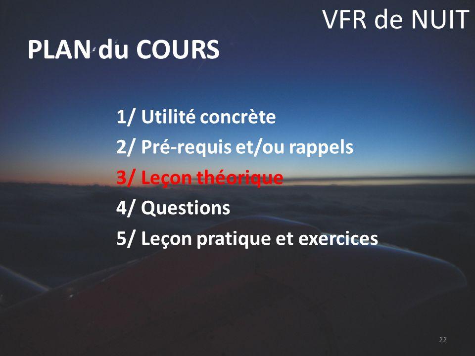 VFR de NUIT 1/ Utilité concrète 2/ Pré-requis et/ou rappels 3/ Leçon théorique 4/ Questions 5/ Leçon pratique et exercices PLAN du COURS 22