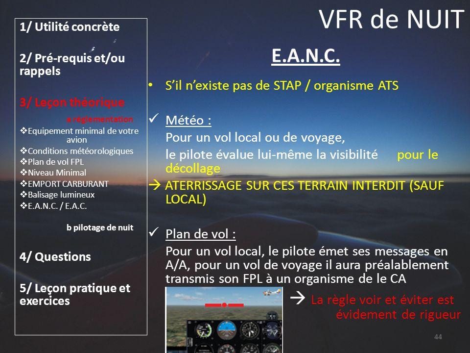 VFR de NUIT 1/ Utilité concrète 2/ Pré-requis et/ou rappels 3/ Leçon théorique a réglementation Equipement minimal de votre avion Conditions météorolo