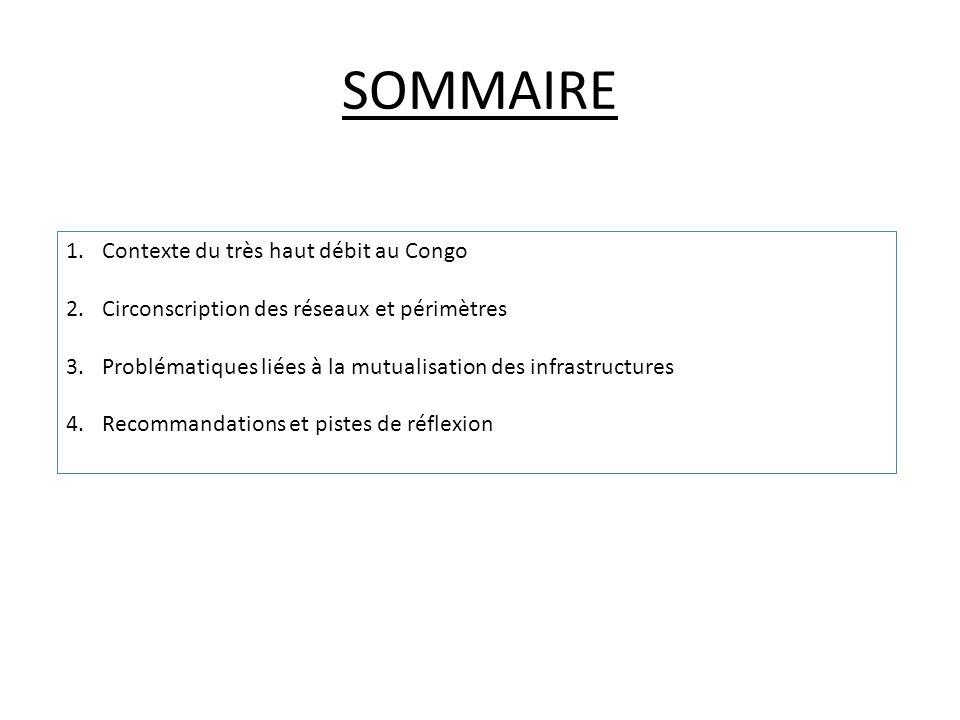 SOMMAIRE 1.Contexte du très haut débit au Congo 2.Circonscription des réseaux et périmètres 3.Problématiques liées à la mutualisation des infrastructures 4.Recommandations et pistes de réflexion