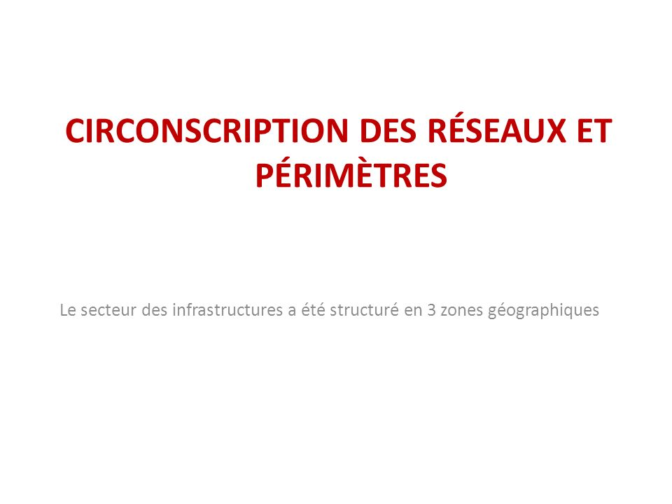 CIRCONSCRIPTION DES RÉSEAUX ET PÉRIMÈTRES Le secteur des infrastructures a été structuré en 3 zones géographiques