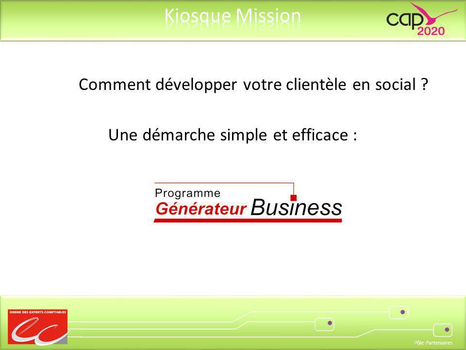 Pôle Partenaires Comment développer votre clientèle en social ? Une démarche simple et efficace :