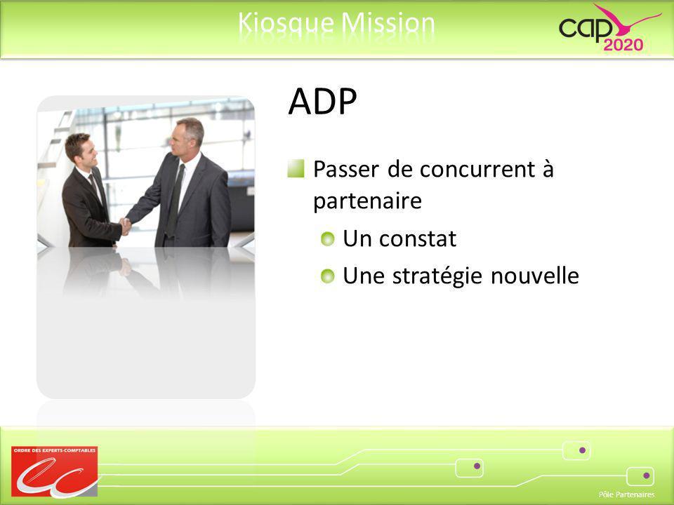 Pôle Partenaires Passer de concurrent à partenaire Un constat Une stratégie nouvelle ADP