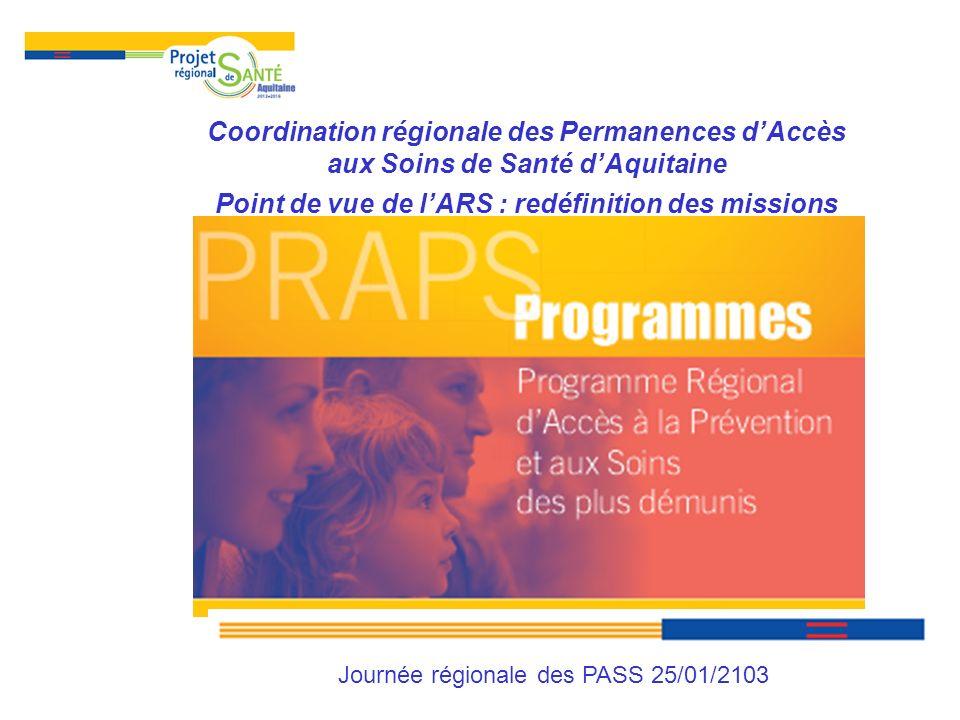 Coordination régionale des PASS dAquitaine Etat des lieux et enjeux (enquête régionale octobre 2011) Redéfinition des missions de la coordination régionale des PASS Priorités de lARS
