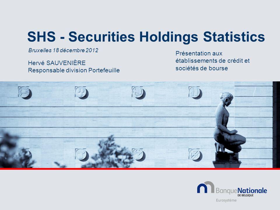 2 Réglementation européenne Règlement de la BCE Règlement (UE) n° 1011/2012 du 17 octobre 2012 concernant les statistiques sur les détentions de titres (BCE/2012/24) Journal officiel : J.O L 305 du 1.11.2012 p.6-24 Orientation (Guideline) de la BCE En cours de préparation (février 2013) Détermine les obligations des Banques centrales nationales en matière de reporting des statistiques SHS (Securities Holdings Statistics) à la BCE
