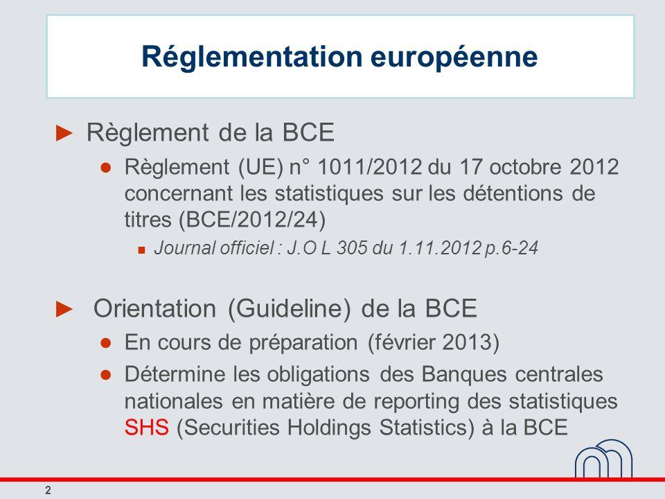 2 Réglementation européenne Règlement de la BCE Règlement (UE) n° 1011/2012 du 17 octobre 2012 concernant les statistiques sur les détentions de titre