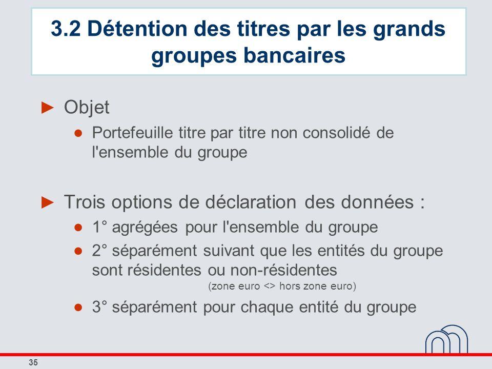 35 Objet Portefeuille titre par titre non consolidé de l'ensemble du groupe Trois options de déclaration des données : 1° agrégées pour l'ensemble du