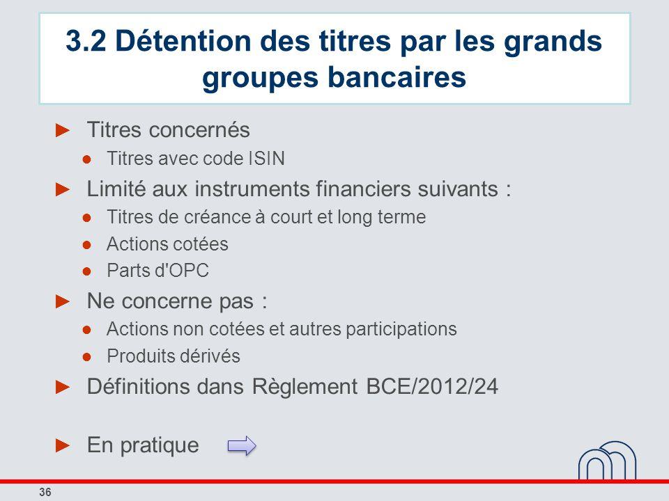 36 Titres concernés Titres avec code ISIN Limité aux instruments financiers suivants : Titres de créance à court et long terme Actions cotées Parts d'