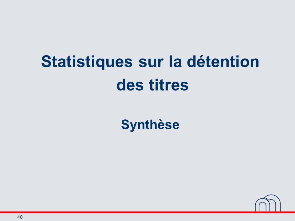 40 Statistiques sur la détention des titres Synthèse