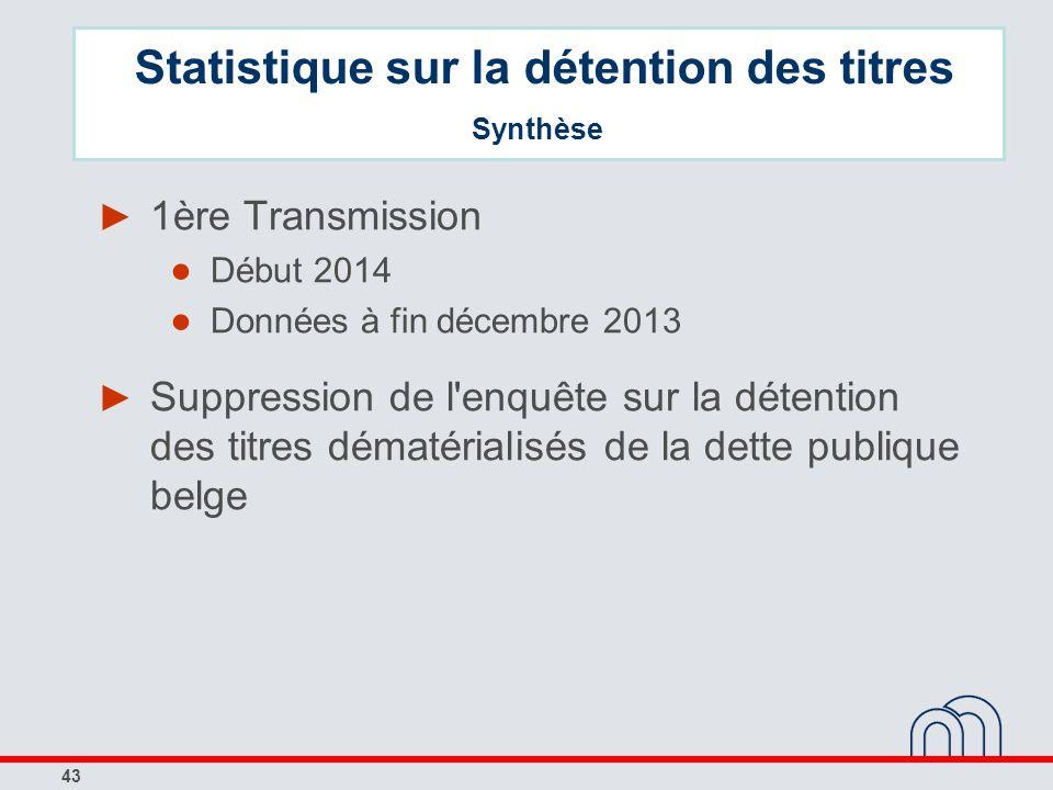43 1ère Transmission Début 2014 Données à fin décembre 2013 Suppression de l'enquête sur la détention des titres dématérialisés de la dette publique b