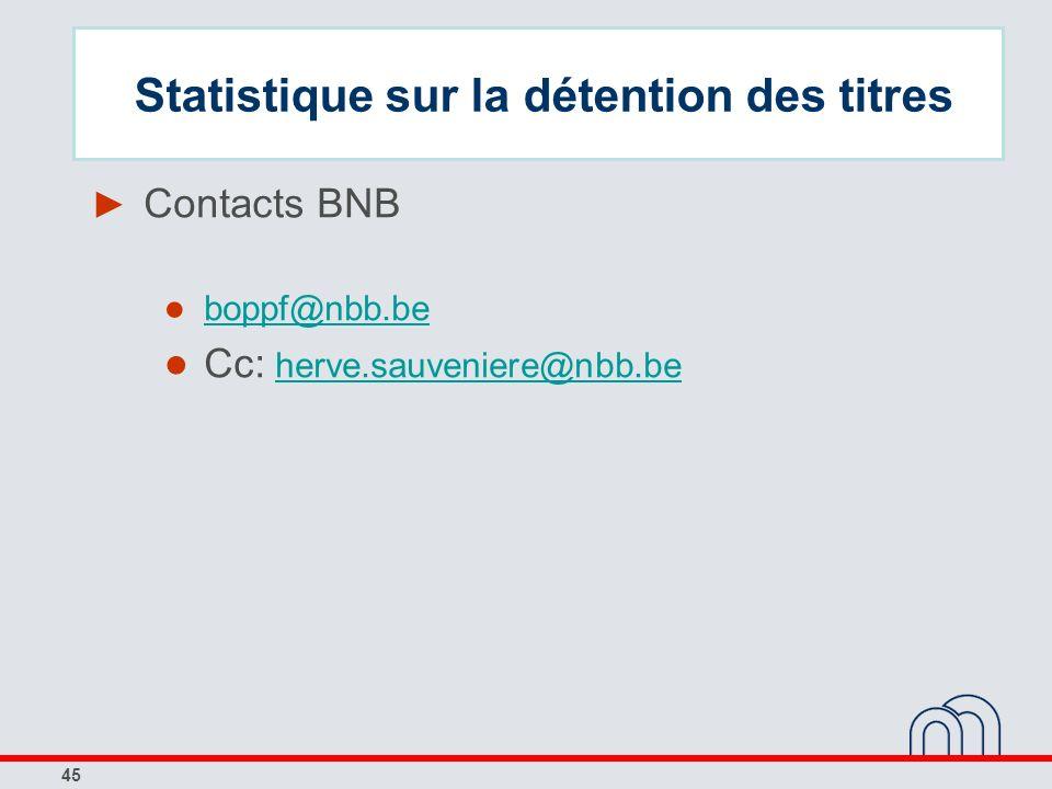 45 Contacts BNB boppf@nbb.be Cc: herve.sauveniere@nbb.beherve.sauveniere@nbb.be Statistique sur la détention des titres