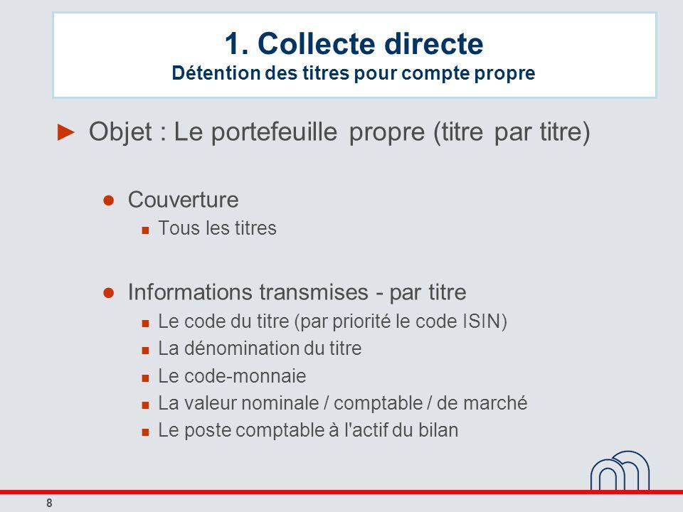8 Objet : Le portefeuille propre (titre par titre) Couverture Tous les titres Informations transmises - par titre Le code du titre (par priorité le co