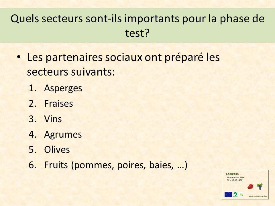 Quels secteurs sont-ils importants pour la phase de test? Les partenaires sociaux ont préparé les secteurs suivants: 1.Asperges 2.Fraises 3.Vins 4.Agr