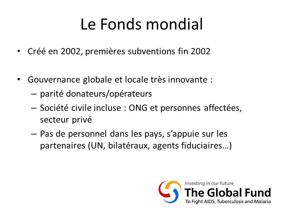 Le Fonds mondial Créé en 2002, premières subventions fin 2002 Gouvernance globale et locale très innovante : – parité donateurs/opérateurs – Société civile incluse : ONG et personnes affectées, secteur privé – Pas de personnel dans les pays, sappuie sur les partenaires (UN, bilatéraux, agents fiduciaires…)