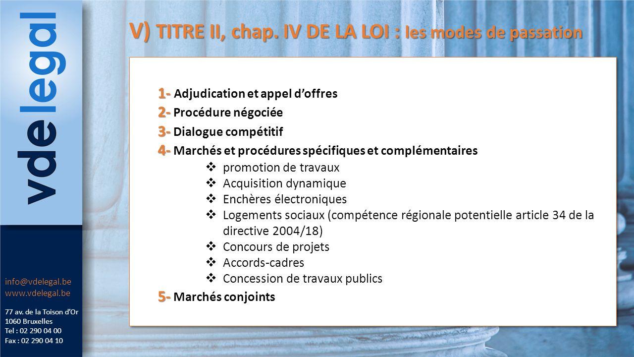 V) TITRE II, chap. IV DE LA LOI : les modes de passation 77 av.