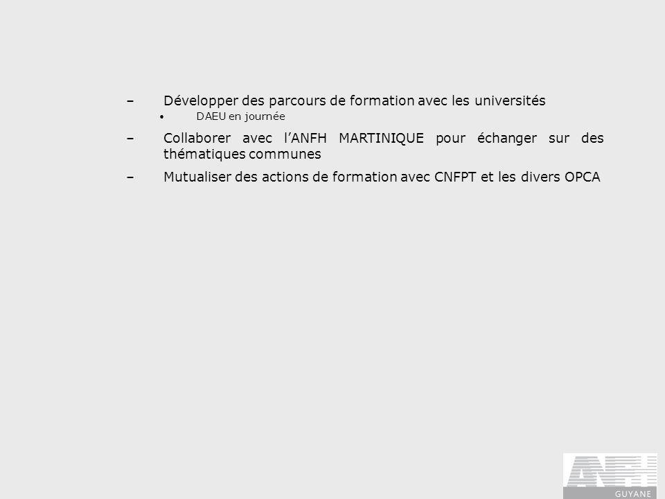 –Développer des parcours de formation avec les universités DAEU en journée –Collaborer avec lANFH MARTINIQUE pour échanger sur des thématiques commune