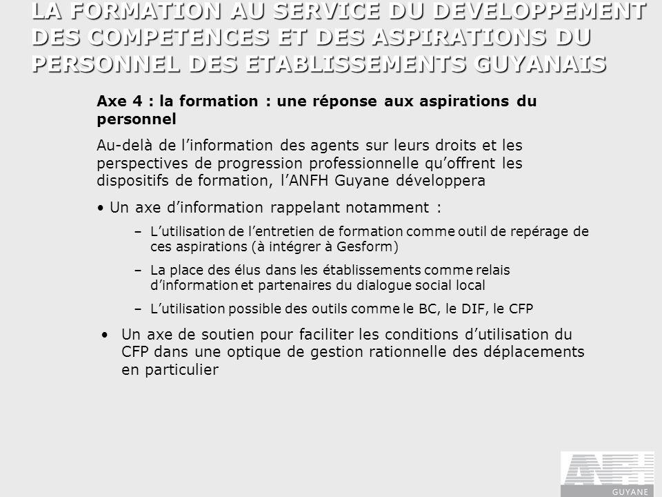 LA FORMATION AU SERVICE DU DEVELOPPEMENT DES COMPETENCES ET DES ASPIRATIONS DU PERSONNEL DES ETABLISSEMENTS GUYANAIS Axe 4 : la formation : une répons