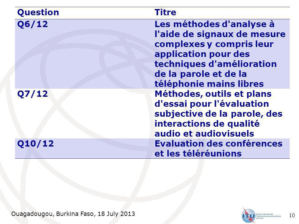 Ouagadougou, Burkina Faso, 18 July 2013 QuestionTitre Q6/12 Les méthodes d'analyse à l'aide de signaux de mesure complexes y compris leur application