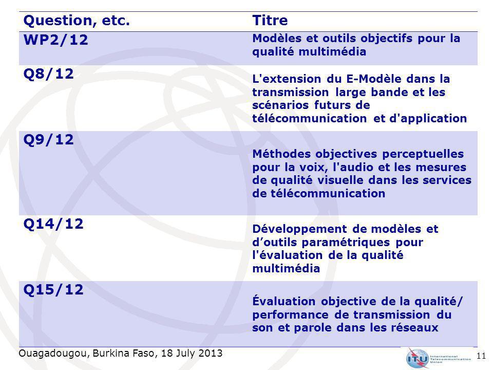 Ouagadougou, Burkina Faso, 18 July 2013 Question, etc.Titre WP2/12 Modèles et outils objectifs pour la qualité multimédia Q8/12 L'extension du E-Modèl
