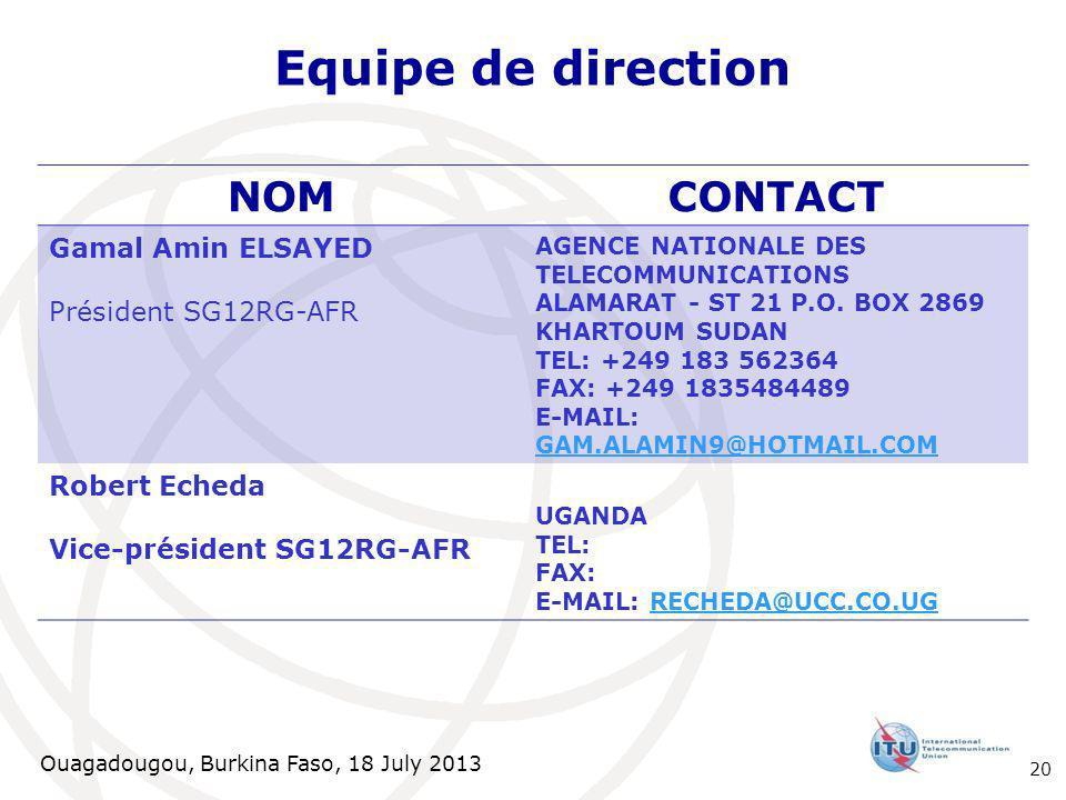 Ouagadougou, Burkina Faso, 18 July 2013 Equipe de direction NOMCONTACT Gamal Amin ELSAYED Président SG12RG-AFR AGENCE NATIONALE DES TELECOMMUNICATIONS