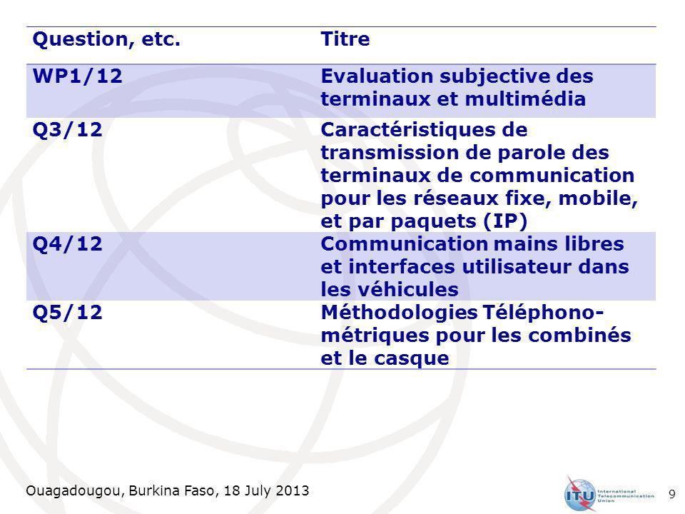 Ouagadougou, Burkina Faso, 18 July 2013 Question, etc.Titre WP1/12Evaluation subjective des terminaux et multimédia Q3/12 Caractéristiques de transmis