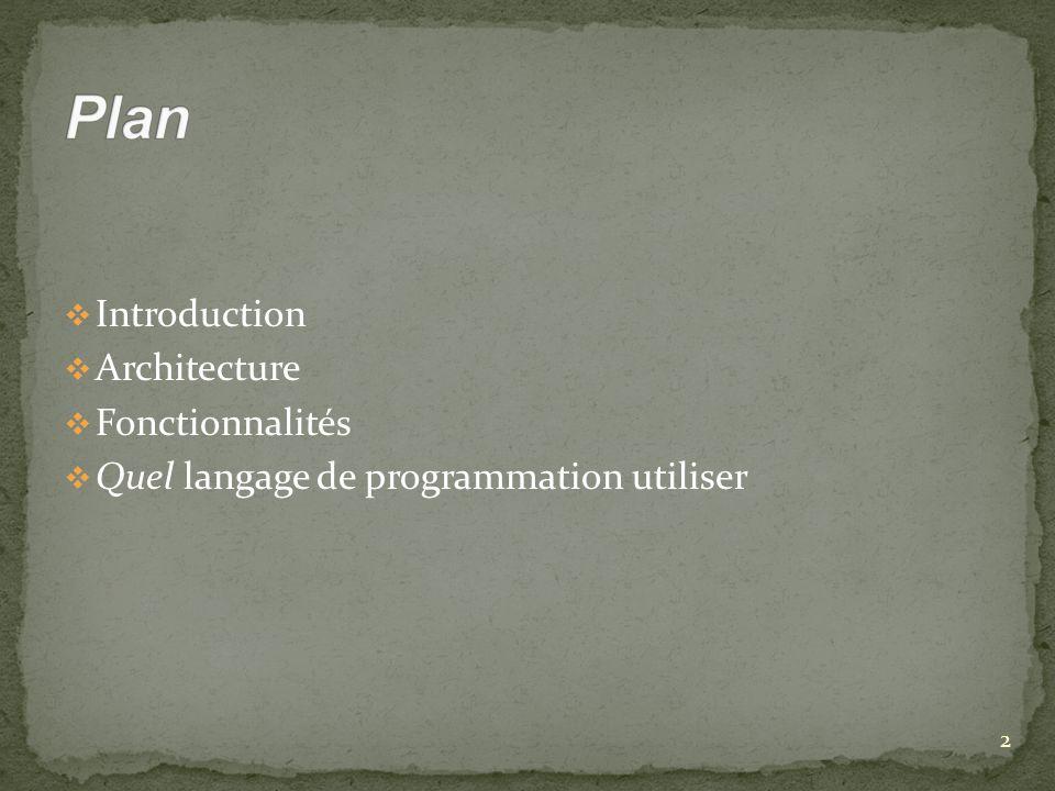 Introduction Architecture Fonctionnalités Quel langage de programmation utiliser 2