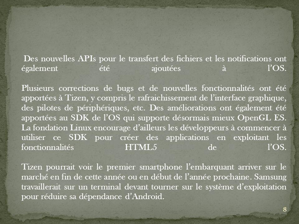 Des nouvelles APIs pour le transfert des fichiers et les notifications ont également été ajoutées à lOS.