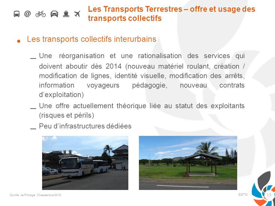 Les Transports Terrestres – offre et usage des transports collectifs Les transports collectifs interurbains – Une réorganisation et une rationalisatio