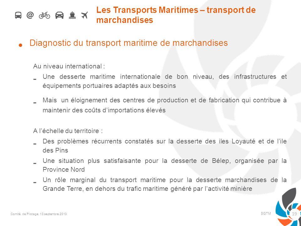 Les Transports Maritimes – transport de marchandises Diagnostic du transport maritime de marchandises Au niveau international : - Une desserte maritim
