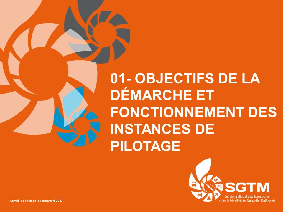 01- OBJECTIFS DE LA DÉMARCHE ET FONCTIONNEMENT DES INSTANCES DE PILOTAGE Comité de Pilotage 13 septembre 2013