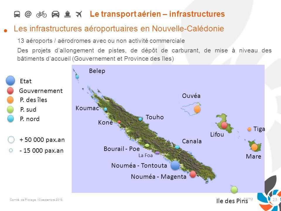 Le transport aérien – infrastructures Les infrastructures aéroportuaires en Nouvelle-Calédonie 13 aéroports / aérodromes avec ou non activité commerci