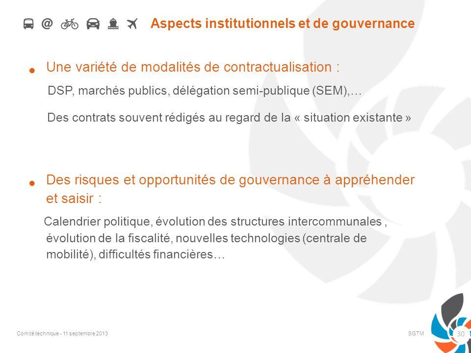 Aspects institutionnels et de gouvernance Une variété de modalités de contractualisation : DSP, marchés publics, délégation semi-publique (SEM),… Des