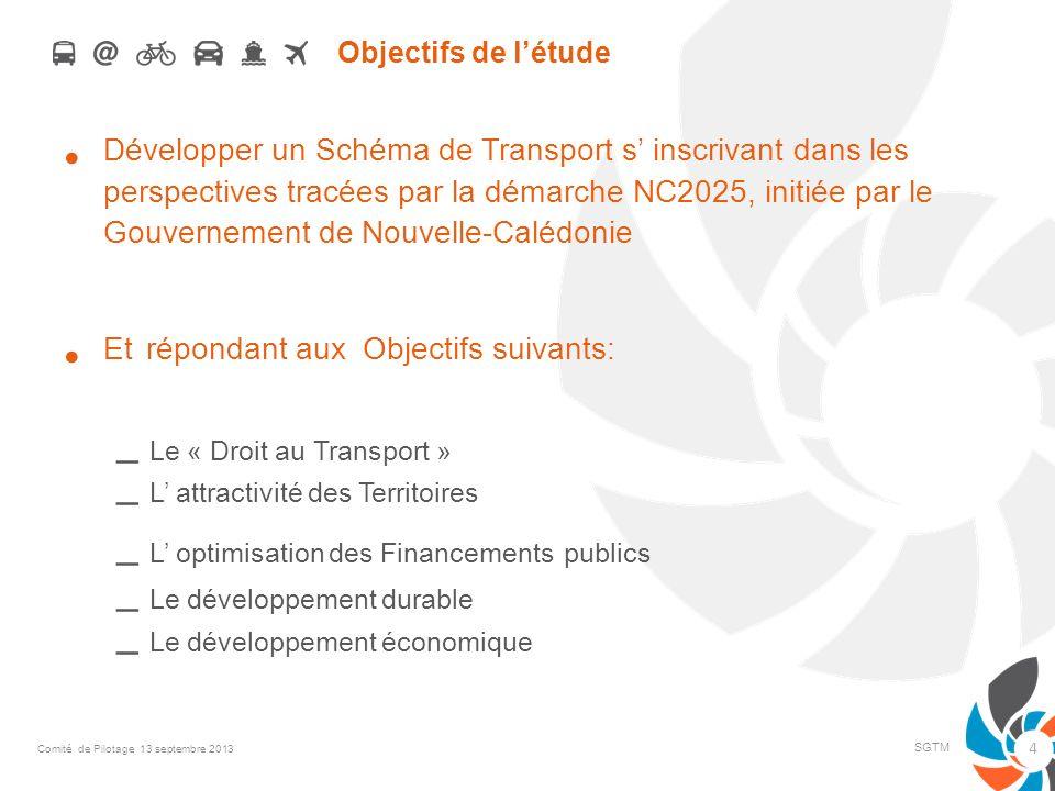 Objectifs de létude Développer un Schéma de Transport s inscrivant dans les perspectives tracées par la démarche NC2025, initiée par le Gouvernement d