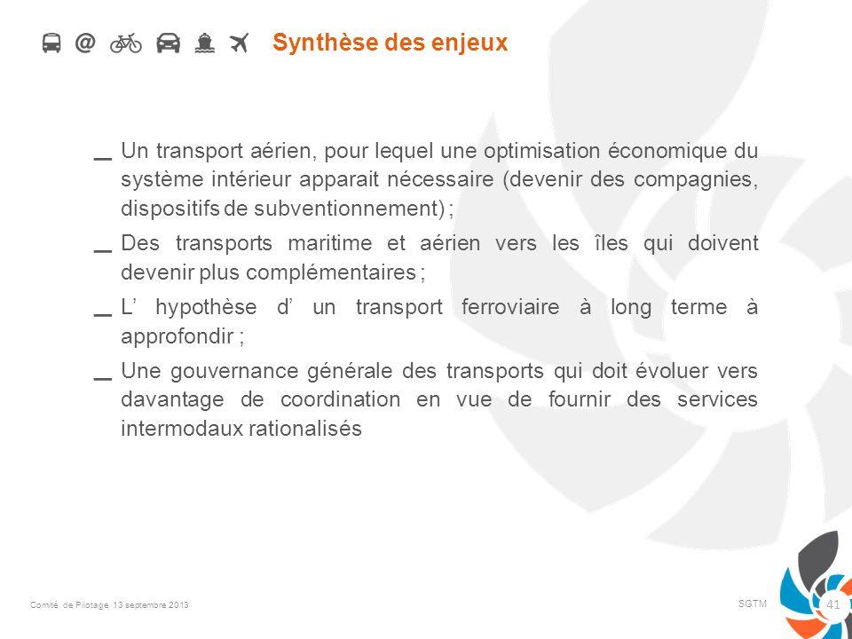 Synthèse des enjeux – Un transport aérien, pour lequel une optimisation économique du système intérieur apparait nécessaire (devenir des compagnies, d