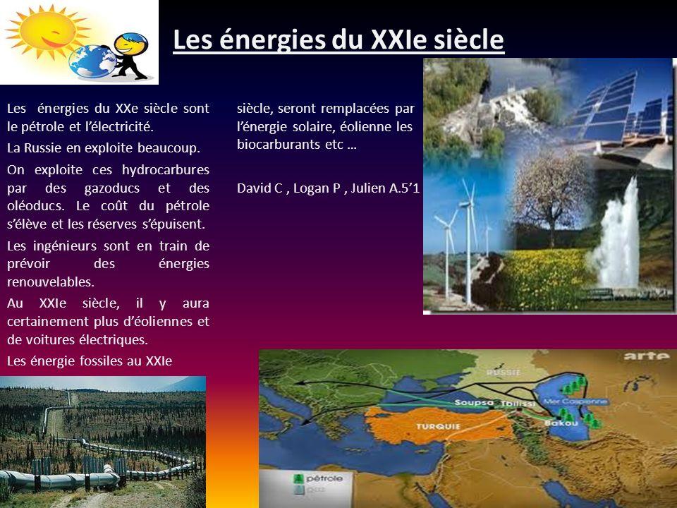 Les énergies du XXIe siècle Les énergies du XXe siècle sont le pétrole et lélectricité. La Russie en exploite beaucoup. On exploite ces hydrocarbures