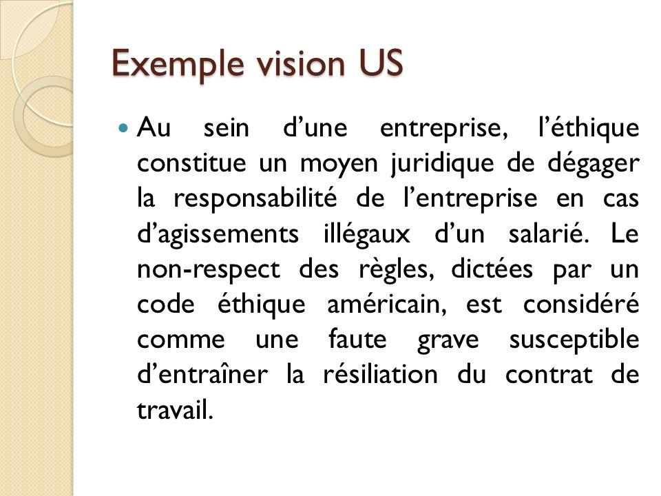 Exemple vision US Au sein dune entreprise, léthique constitue un moyen juridique de dégager la responsabilité de lentreprise en cas dagissements illégaux dun salarié.