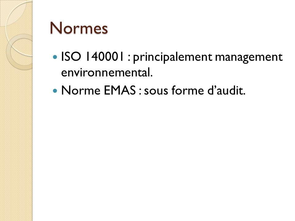 Normes ISO 140001 : principalement management environnemental. Norme EMAS : sous forme daudit.