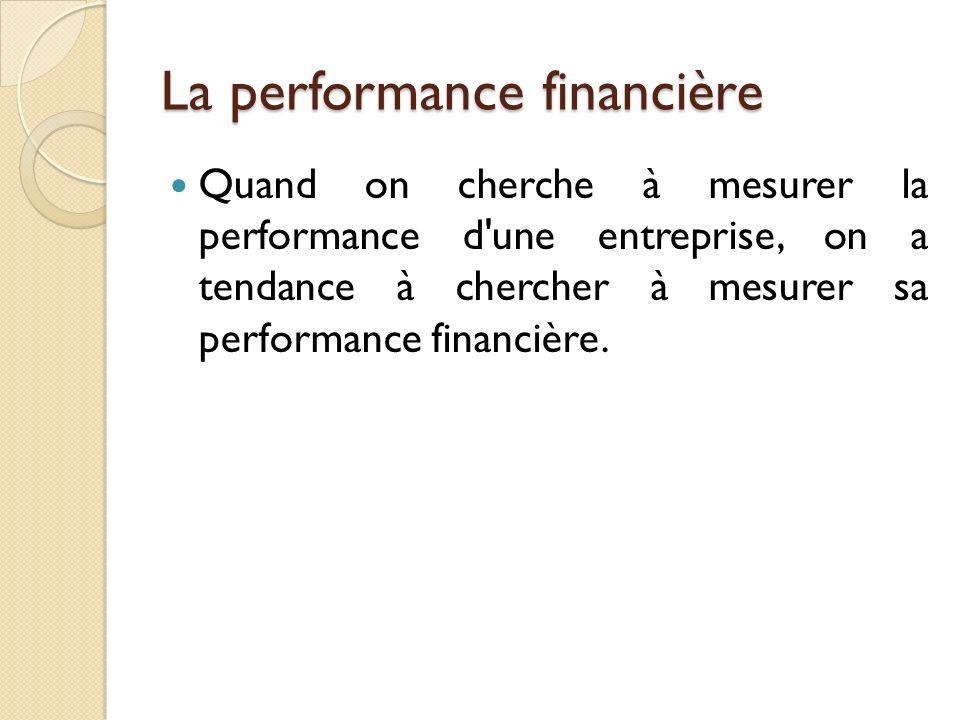 La performance financière Quand on cherche à mesurer la performance d une entreprise, on a tendance à chercher à mesurer sa performance financière.