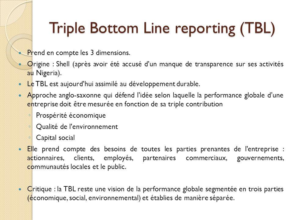 Triple Bottom Line reporting (TBL) Prend en compte les 3 dimensions. Origine : Shell (après avoir été accusé d'un manque de transparence sur ses activ