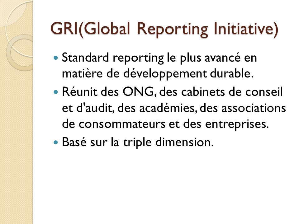 GRI(Global Reporting Initiative) Standard reporting le plus avancé en matière de développement durable. Réunit des ONG, des cabinets de conseil et d'a