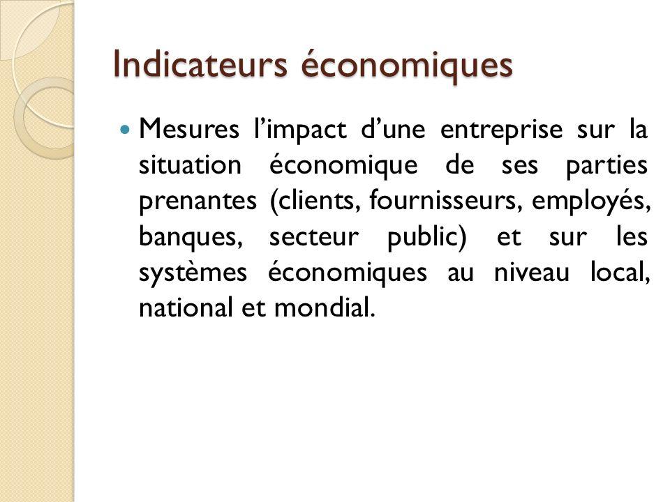 Indicateurs économiques Mesures limpact dune entreprise sur la situation économique de ses parties prenantes (clients, fournisseurs, employés, banques, secteur public) et sur les systèmes économiques au niveau local, national et mondial.