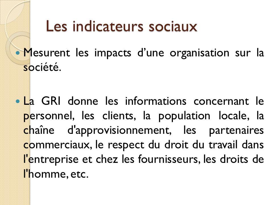 Les indicateurs sociaux Mesurent les impacts dune organisation sur la société. La GRI donne les informations concernant le personnel, les clients, la