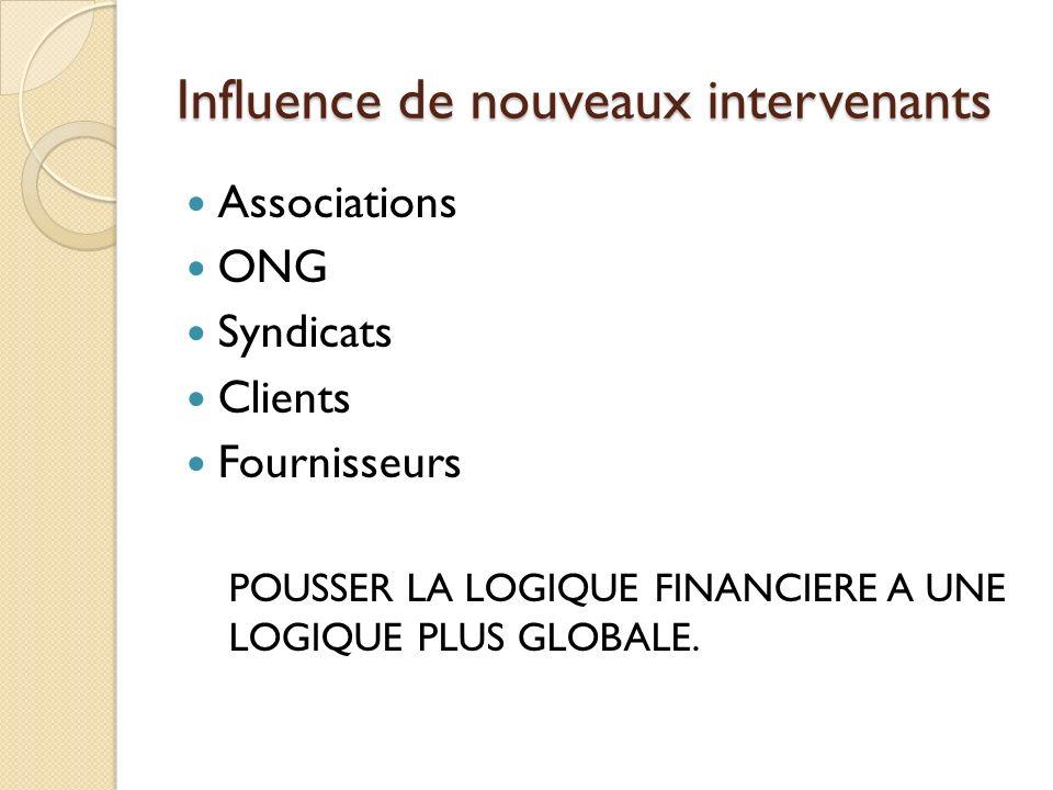 Influence de nouveaux intervenants Associations ONG Syndicats Clients Fournisseurs POUSSER LA LOGIQUE FINANCIERE A UNE LOGIQUE PLUS GLOBALE.