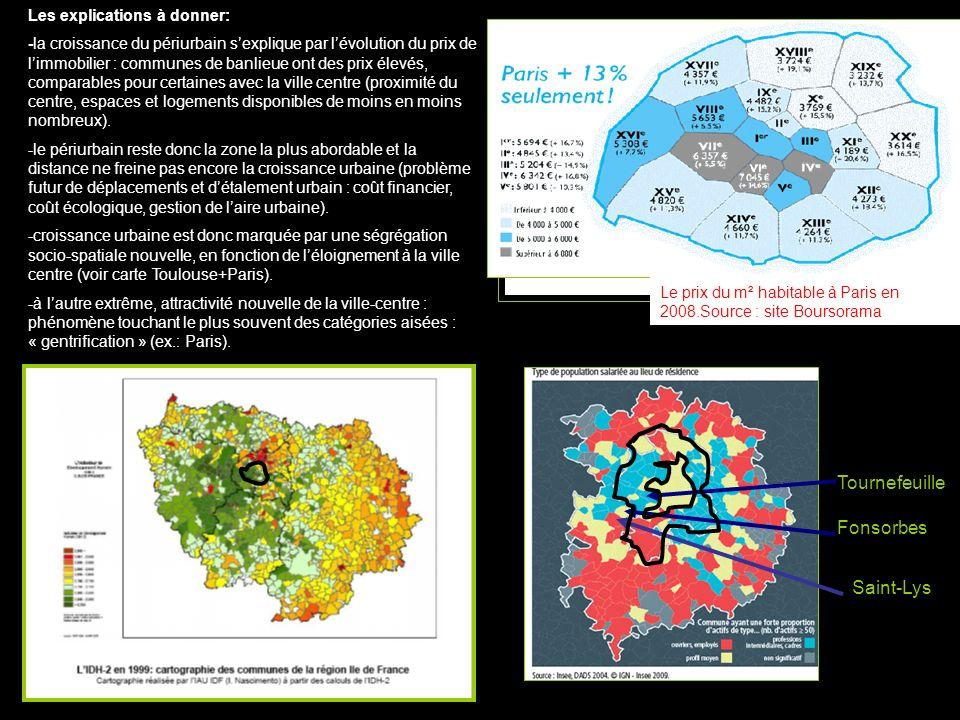 Tournefeuille Fonsorbes Saint-Lys Les explications à donner: -la croissance du périurbain sexplique par lévolution du prix de limmobilier : communes d