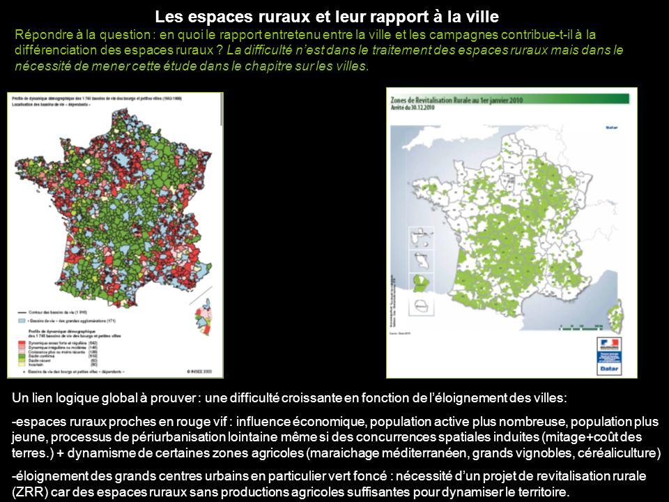 Les espaces ruraux et leur rapport à la ville Répondre à la question : en quoi le rapport entretenu entre la ville et les campagnes contribue-t-il à l