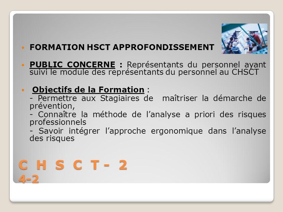 C H S C T - 2 4-2 FORMATION HSCT APPROFONDISSEMENT PUBLIC CONCERNE : Représentants du personnel ayant suivi le module des représentants du personnel a