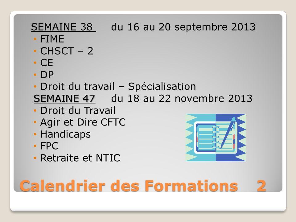 Calendrier des Formations2 SEMAINE 38 du 16 au 20 septembre 2013 FIME CHSCT – 2 CE DP Droit du travail – Spécialisation SEMAINE 47 SEMAINE 47du 18 au