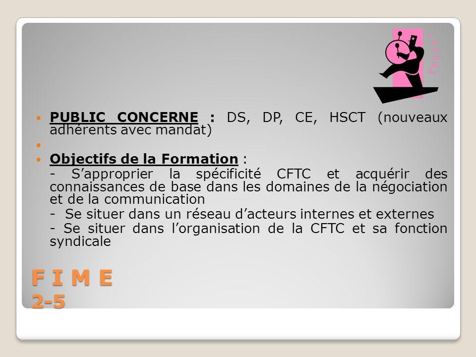 F I M E 2-5 PUBLIC CONCERNE : DS, DP, CE, HSCT (nouveaux adhérents avec mandat) Objectifs de la Formation : - Sapproprier la spécificité CFTC et acqué